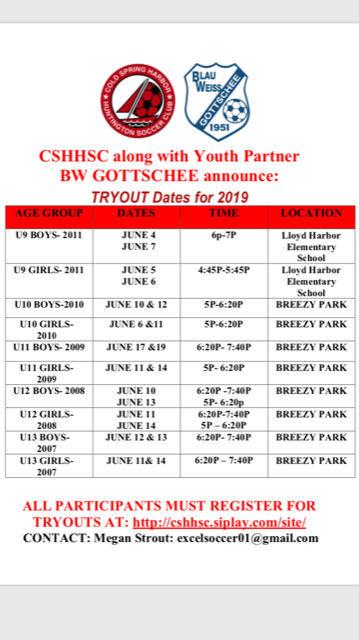TRYOUT DATES POSTED
